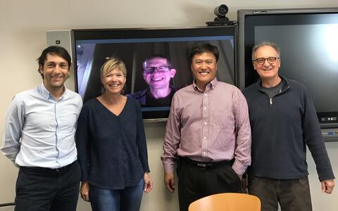 Some of the group leaders at the Yale meeting. From left to right: Claudio Franco, host Anne Eichenberg, Holger Gerhardt, Paul Oh, and Doug Marchuk. Due to travel difficulties, Holger Gerhardt joined remotely.