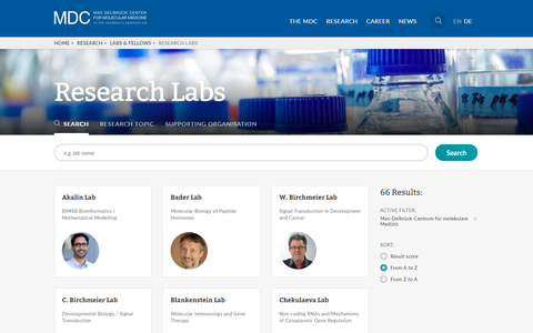 MDC Website - Research labs
