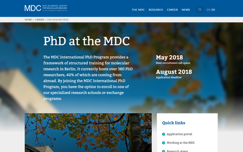 MDC Website - PhD page