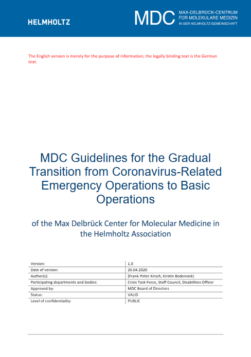 MDC Guidelines for transition